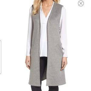 HALOGEN Long Grey Wool Vest